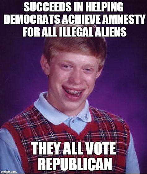 Bad Luck Democrats | SUCCEEDS IN HELPING DEMOCRATS ACHIEVE AMNESTY FOR ALL ILLEGAL ALIENS THEY ALL VOTE REPUBLICAN | image tagged in memes,bad luck brian | made w/ Imgflip meme maker