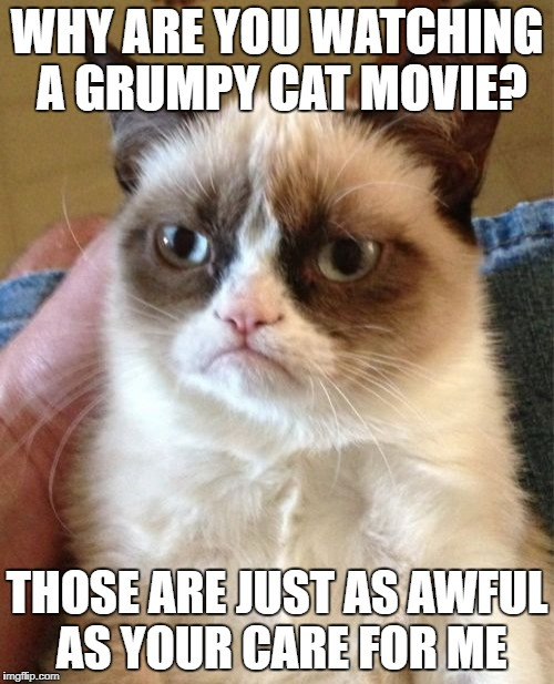 Grumpy Cat Meme | WHY ARE YOU WATCHING A GRUMPY CAT MOVIE? THOSE ARE JUST AS AWFUL AS YOUR CARE FOR ME | image tagged in memes,grumpy cat | made w/ Imgflip meme maker