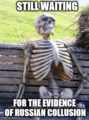 Waiting Skeleton Meme | STILL WAITING FOR THE EVIDENCE OF RUSSIAN COLLUSION | image tagged in memes,waiting skeleton | made w/ Imgflip meme maker