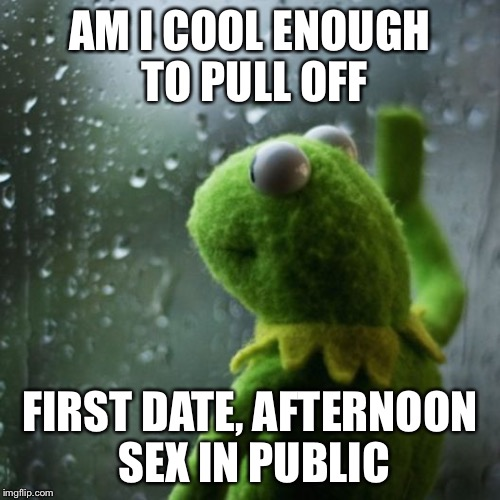 sometimes I wonder  | AM I COOL ENOUGH TO PULL OFF FIRST DATE, AFTERNOON SEX IN PUBLIC | image tagged in sometimes i wonder | made w/ Imgflip meme maker