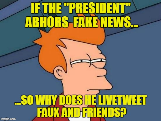 "Futurama Fry Meme | IF THE ""PRESIDENT"" ABHORS  FAKE NEWS... ...SO WHY DOES HE LIVETWEET FAUX AND FRIENDS? 