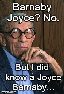 George Burns standup. | Barnaby Joyce? No. But I did know a Joyce Barnaby... | image tagged in george burns standup | made w/ Imgflip meme maker