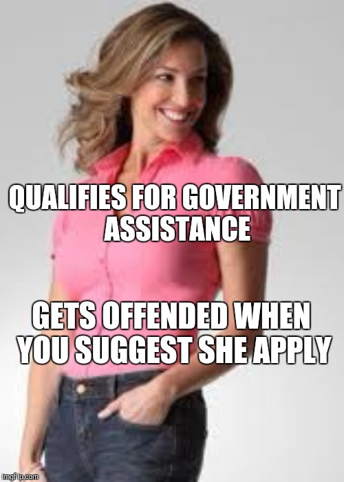Oblivious suburban mom | QUALIFIES FOR GOVERNMENT ASSISTANCE GETS OFFENDED WHEN YOU SUGGEST SHE APPLY | image tagged in oblivious suburban mom | made w/ Imgflip meme maker