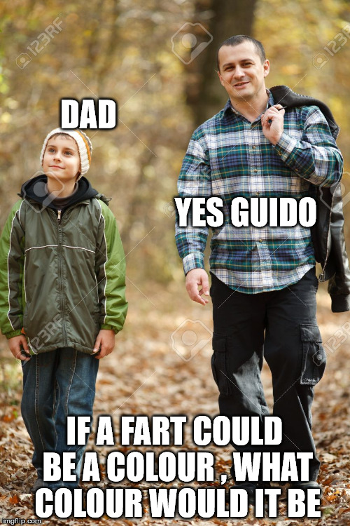 DAD IF A FART COULD BE A COLOUR , WHAT COLOUR WOULD IT BE YES GUIDO | made w/ Imgflip meme maker