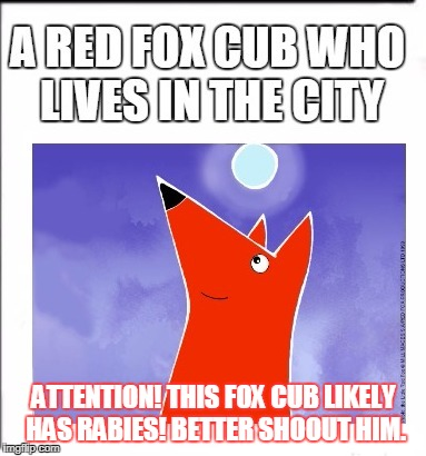 ATTENTION! THIS FOX CUB LIKELY HAS RABIES! BETTER SHOOUT HIM. | made w/ Imgflip meme maker