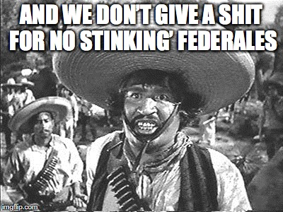AND WE DON'T GIVE A SHIT FOR NO STINKING' FEDERALES | made w/ Imgflip meme maker