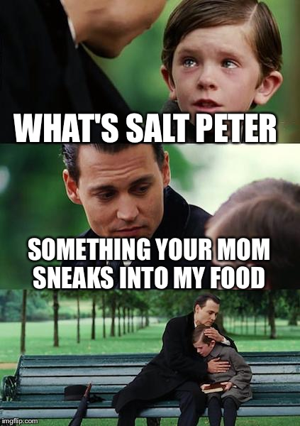Finding Neverland Meme | WHAT'S SALT PETER SOMETHING YOUR MOM SNEAKS INTO MY FOOD | image tagged in memes,finding neverland | made w/ Imgflip meme maker