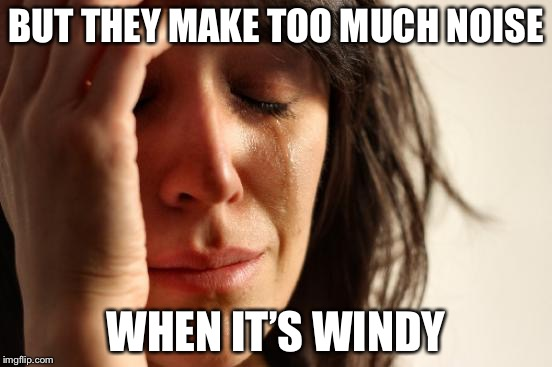First World Problems Meme | BUT THEY MAKE TOO MUCH NOISE WHEN IT'S WINDY | image tagged in memes,first world problems | made w/ Imgflip meme maker