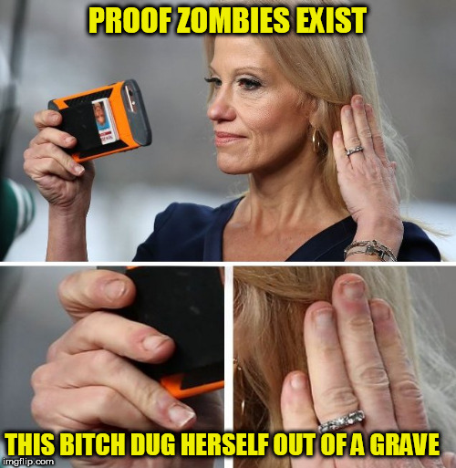 PROOF ZOMBIES EXIST THIS B**CH DUG HERSELF OUT OF A GRAVE | image tagged in kellyanne conway,zombies,zombie,undead,zombies approaching,dead or alive | made w/ Imgflip meme maker