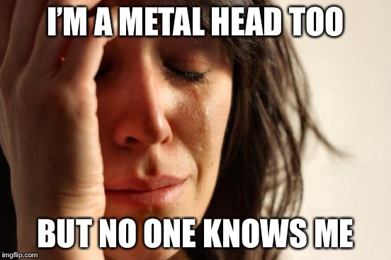 Iron maiden... Van Halen... Metallica... megadeth... I love 'em all | I'M A METAL HEAD TOO BUT NO ONE KNOWS ME | image tagged in memes,first world problems,powermetalhead,metallica | made w/ Imgflip meme maker