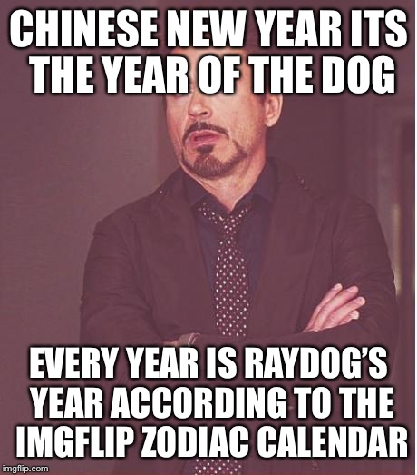 Face You Make Robert Downey Jr Meme | CHINESE NEW YEAR ITS THE YEAR OF THE DOG EVERY YEAR IS RAYDOG'S YEAR ACCORDING TO THE IMGFLIP ZODIAC CALENDAR | image tagged in memes,face you make robert downey jr,raydog,imgflip | made w/ Imgflip meme maker