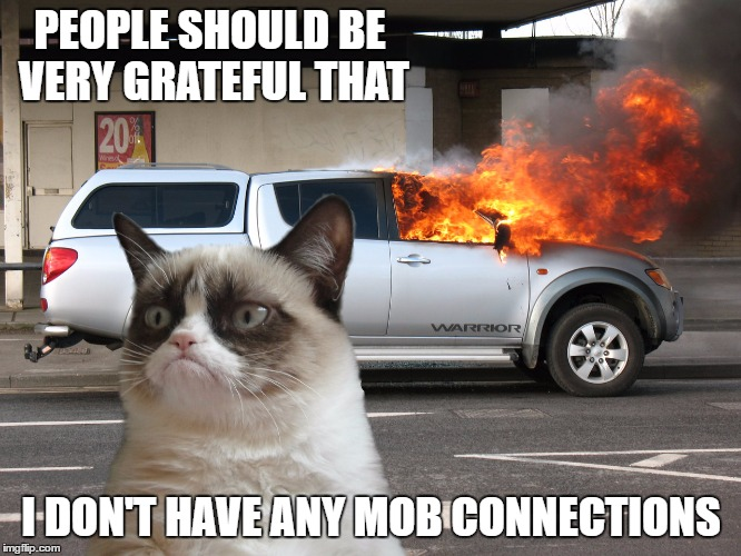 Grumpy Cat Fire Car | PEOPLE SHOULD BE VERY GRATEFUL THAT I DON'T HAVE ANY MOB CONNECTIONS | image tagged in grumpy cat fire car,random | made w/ Imgflip meme maker