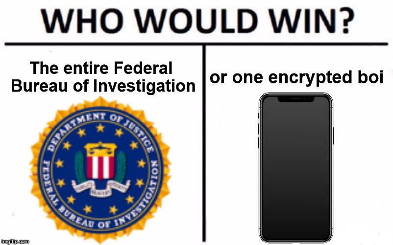 Who Would Win? Meme | The entire Federal Bureau of Investigation or one encrypted boi | image tagged in memes,who would win | made w/ Imgflip meme maker