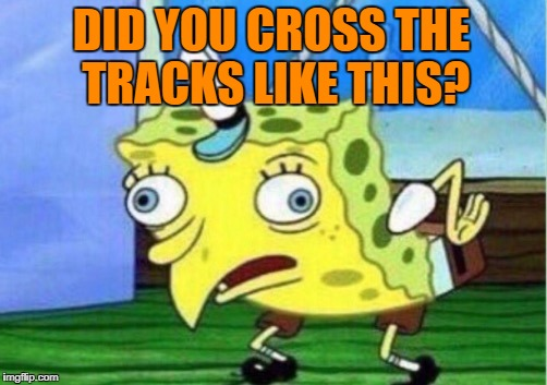 Mocking Spongebob Meme | DID YOU CROSS THE TRACKS LIKE THIS? | image tagged in memes,mocking spongebob | made w/ Imgflip meme maker