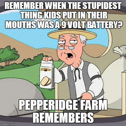 Pepperidge Farm Remembers Meme | REMEMBER WHEN THE STUPIDEST THING KIDS PUT IN THEIR MOUTHS WAS A 9 VOLT BATTERY? PEPPERIDGE FARM REMEMBERS | image tagged in memes,pepperidge farm remembers | made w/ Imgflip meme maker