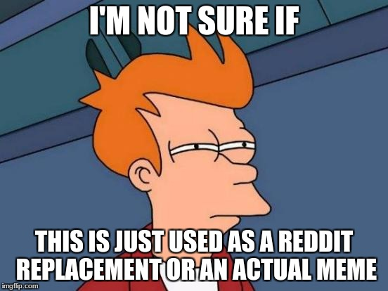 Futurama Fry Meme | I'M NOT SURE IF THIS IS JUST USED AS A REDDIT REPLACEMENT OR AN ACTUAL MEME | image tagged in memes,futurama fry | made w/ Imgflip meme maker
