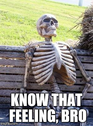 Waiting Skeleton Meme | KNOW THAT FEELING, BRO | image tagged in memes,waiting skeleton | made w/ Imgflip meme maker