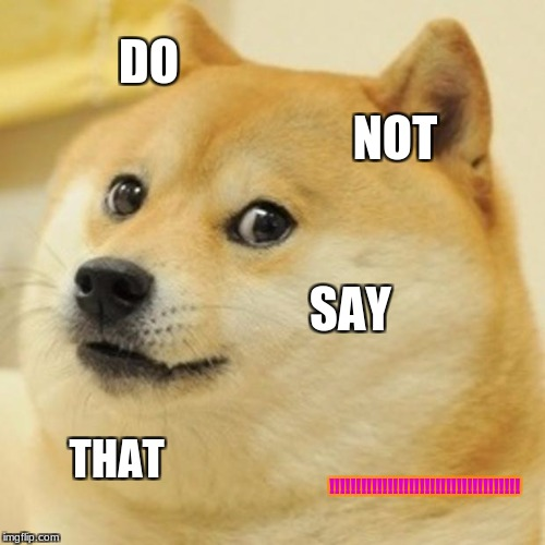 Doge | DO NOT SAY THAT !!!!!!!!!!!!!!!!!!!!!!!!!!!!!!!!!!!! | image tagged in memes,doge | made w/ Imgflip meme maker