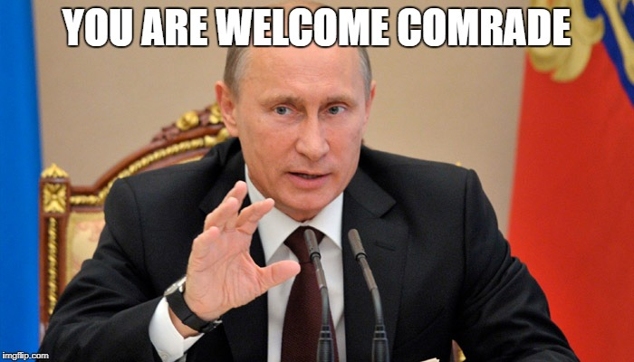 Putin perhaps | YOU ARE WELCOME COMRADE | image tagged in putin perhaps | made w/ Imgflip meme maker