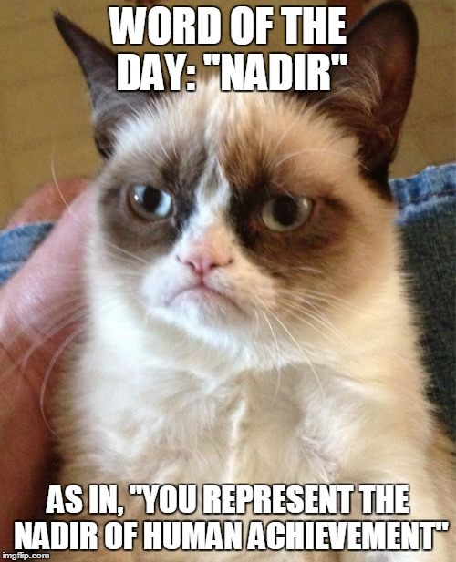 "Word of the day, Part II | WORD OF THE DAY: ""NADIR"" AS IN, ""YOU REPRESENT THE NADIR OF HUMAN ACHIEVEMENT"" 