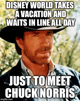 Chuck Norris Meme | DISNEY WORLD TAKES A VACATION AND WAITS IN LINE ALL DAY JUST TO MEET CHUCK NORRIS | image tagged in memes,chuck norris | made w/ Imgflip meme maker