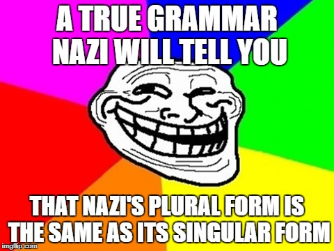 A TRUE GRAMMAR NAZI WILL TELL YOU THAT NAZI'S PLURAL FORM IS THE SAME AS ITS SINGULAR FORM | made w/ Imgflip meme maker