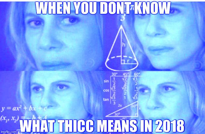 Math lady/Confused lady | WHEN YOU DONT KNOW WHAT THICC MEANS IN 2018 | image tagged in math lady/confused lady | made w/ Imgflip meme maker