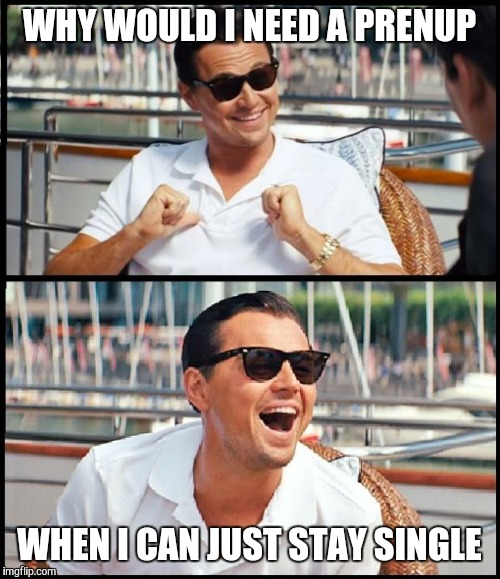 wolf of wall street | WHY WOULD I NEED A PRENUP WHEN I CAN JUST STAY SINGLE | image tagged in wolf of wall street | made w/ Imgflip meme maker
