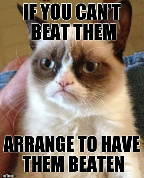 Grumpy Cat channels Carlin | IF YOU CAN'T BEAT THEM ARRANGE TO HAVE THEM BEATEN | image tagged in memes,grumpy cat,george carlin | made w/ Imgflip meme maker