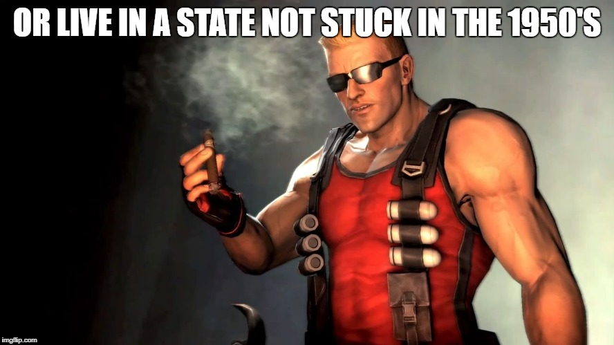 Duke | OR LIVE IN A STATE NOT STUCK IN THE 1950'S | image tagged in duke | made w/ Imgflip meme maker