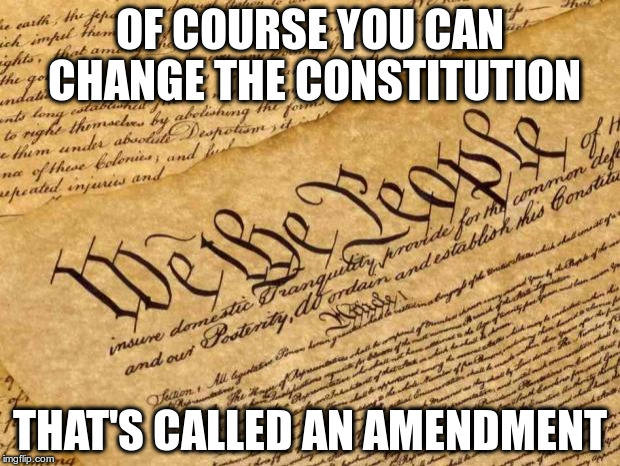 The First Ten Amendments are called The Bill of Rights! | OF COURSE YOU CAN CHANGE THE CONSTITUTION THAT'S CALLED AN AMENDMENT | image tagged in constitution,first amendment,usa | made w/ Imgflip meme maker