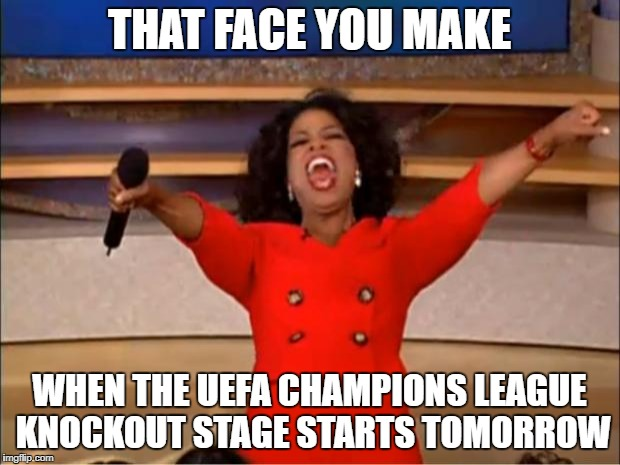 The only thing better than Valentines Day this week | THAT FACE YOU MAKE WHEN THE UEFA CHAMPIONS LEAGUE KNOCKOUT STAGE STARTS TOMORROW | image tagged in memes,oprah you get a,uefa champions league,football,champions league,valentines day | made w/ Imgflip meme maker