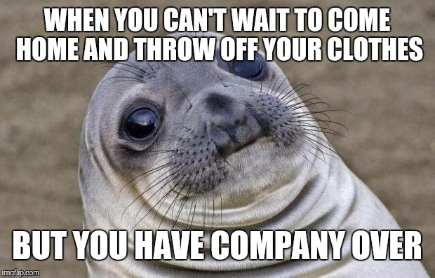 Awkward Moment Sealion Meme | WHEN YOU CAN'T WAIT TO COME HOME AND THROW OFF YOUR CLOTHES BUT YOU HAVE COMPANY OVER | image tagged in memes,awkward moment sealion | made w/ Imgflip meme maker
