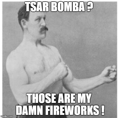 Overly Manly Man Meme | TSAR BOMBA ? THOSE ARE MY DAMN FIREWORKS ! | image tagged in memes,overly manly man | made w/ Imgflip meme maker