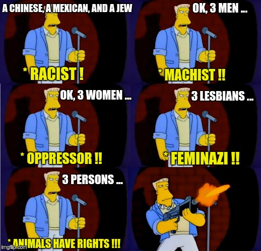 mcbain stand up | A CHINESE, A MEXICAN, AND A JEW * RACIST ! OK, 3 MEN ... * MACHIST !! OK, 3 WOMEN ... * OPPRESSOR !! 3 LESBIANS ... 3 PERSONS ... * ANIMALS  | image tagged in mcbain stand up | made w/ Imgflip meme maker