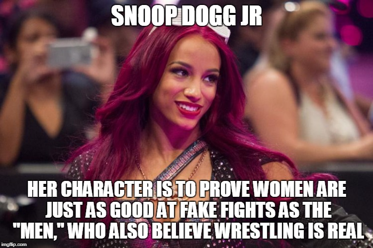"castrating the marks, sasha banks aka snoop dogg jr | SNOOP DOGG JR HER CHARACTER IS TO PROVE WOMEN ARE JUST AS GOOD AT FAKE FIGHTS AS THE ""MEN,"" WHO ALSO BELIEVE WRESTLING IS REAL 