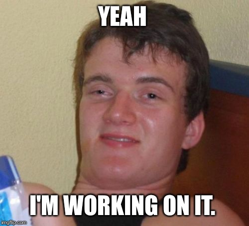 10 Guy Meme | YEAH I'M WORKING ON IT. | image tagged in memes,10 guy | made w/ Imgflip meme maker