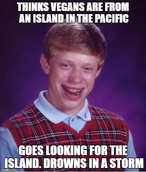 Bad Luck Brian Meme | THINKS VEGANS ARE FROM AN ISLAND IN THE PACIFIC GOES LOOKING FOR THE ISLAND. DROWNS IN A STORM | image tagged in memes,bad luck brian | made w/ Imgflip meme maker