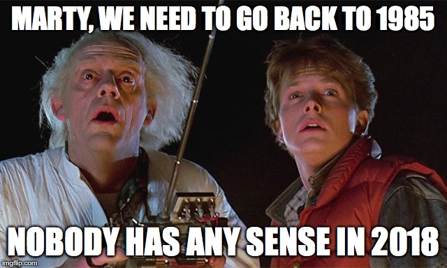 MARTY, WE NEED TO GO BACK TO 1985 NOBODY HAS ANY SENSE IN 2018 | made w/ Imgflip meme maker
