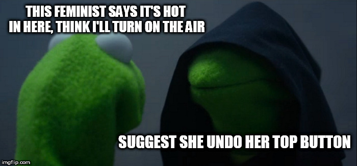 Evil Kermit Meme | THIS FEMINIST SAYS IT'S HOT IN HERE, THINK I'LL TURN ON THE AIR SUGGEST SHE UNDO HER TOP BUTTON | image tagged in memes,evil kermit | made w/ Imgflip meme maker