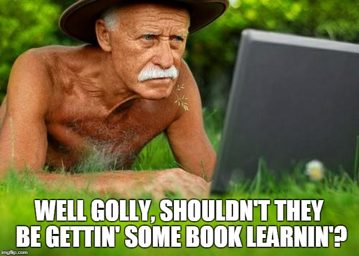 WELL GOLLY, SHOULDN'T THEY BE GETTIN' SOME BOOK LEARNIN'? | made w/ Imgflip meme maker