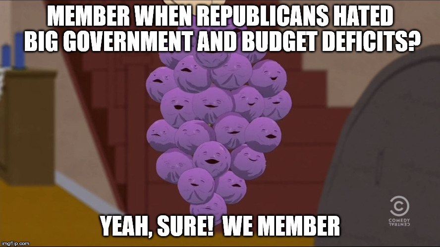 Member Berries Meme | MEMBER WHEN REPUBLICANS HATED BIG GOVERNMENT AND BUDGET DEFICITS? YEAH, SURE!  WE MEMBER | image tagged in memes,member berries,big government,republicans,budget deficits | made w/ Imgflip meme maker