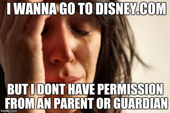 First World Problems Meme | I WANNA GO TO DISNEY.COM BUT I DONT HAVE PERMISSION FROM AN PARENT OR GUARDIAN | image tagged in memes,first world problems | made w/ Imgflip meme maker
