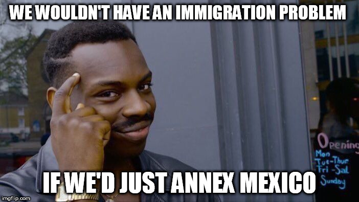 Roll Safe Think About It Meme | WE WOULDN'T HAVE AN IMMIGRATION PROBLEM IF WE'D JUST ANNEX MEXICO | image tagged in memes,roll safe think about it | made w/ Imgflip meme maker
