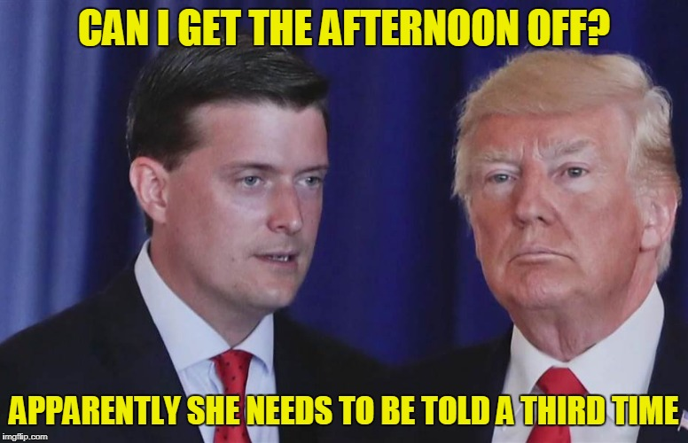 CAN I GET THE AFTERNOON OFF? APPARENTLY SHE NEEDS TO BE TOLD A THIRD TIME | made w/ Imgflip meme maker