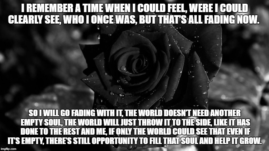 Black rose | I REMEMBER A TIME WHEN I COULD FEEL,WERE I COULD CLEARLY SEE,WHO I ONCE WAS,BUT THAT'S ALL FADING NOW. SO I WILL GO FADING WITH IT,THE W | image tagged in black rose | made w/ Imgflip meme maker