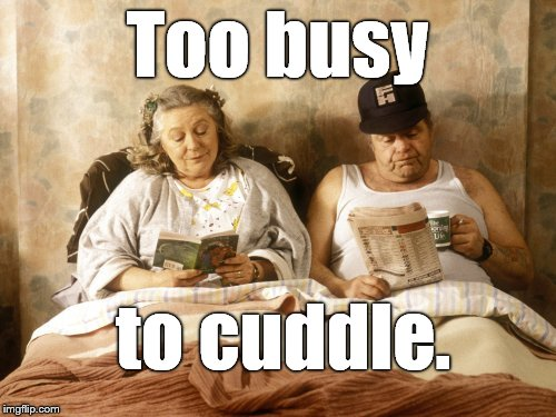 Daisy & Onslow coping with the frantic pace of modern living. | Too busy to cuddle. | image tagged in keeping up appearance,too busy,have a cuddle,modern life,first world problems,douglie | made w/ Imgflip meme maker