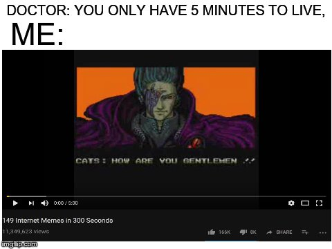 All your memes belong to us | DOCTOR: YOU ONLY HAVE 5 MINUTES TO LIVE, ME: | image tagged in memes,doctor | made w/ Imgflip meme maker