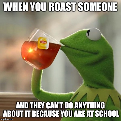 But Thats None Of My Business Meme | WHEN YOU ROAST SOMEONE AND THEY CAN'T DO ANYTHING ABOUT IT BECAUSE YOU ARE AT SCHOOL | image tagged in memes,but thats none of my business,kermit the frog | made w/ Imgflip meme maker