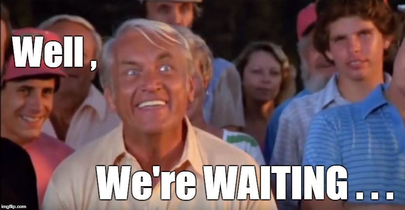 Caddyshack Waiting | Well , We're WAITING . . . | image tagged in caddyshack,funny | made w/ Imgflip meme maker